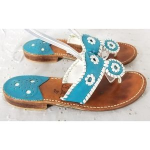 Jack Rogers Teal Leather Thongs Sandals Sz 6